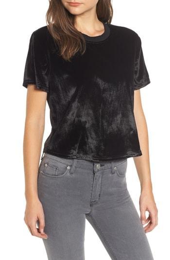Women's Hudson Jeans Velvet Crop Tee - Black
