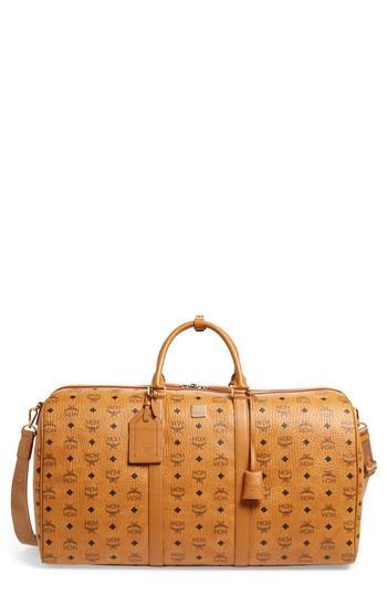 Men's Mcm Voyager Visetos Messenger Bag - Brown