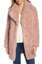 Women's Kensie 'teddy Bear' Notch Collar Faux Fur Coat - Pink (online Only)