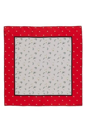 Women's Valentino Mughetto Square Silk Scarf, Size - Red