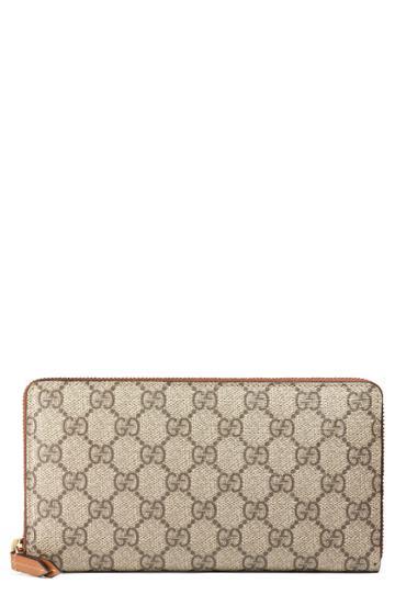 Women's Gucci Linea Gg Supreme Canvas Zip Around Wallet - Beige