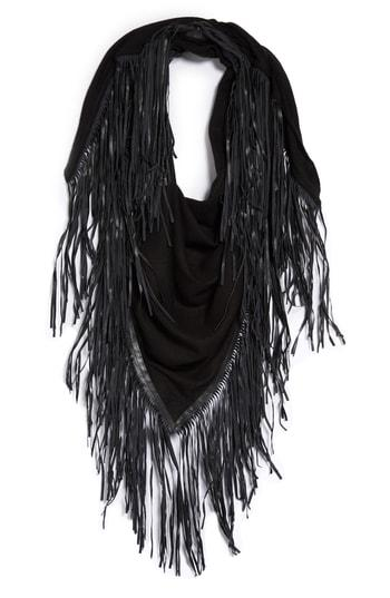 Women's David & Young Faux Leather Fringe Triangle Scarf, Size - Black