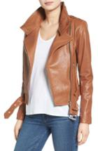 Women's Mackage Belted Leather Moto Jacket - Brown