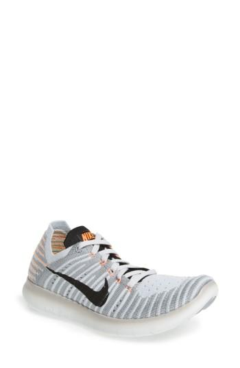 Women's Nike 'free Flyknit' Running Shoe .5 M - Grey