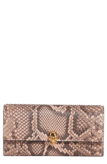 Women's Alexander Mcqueen Genuine Python Wallet On A Chain - Brown