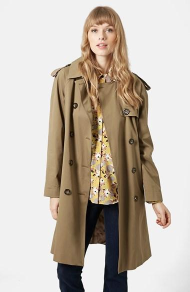 Women's Topshop 'scout' Double Breasted Trench Coat (brit Pop-in)