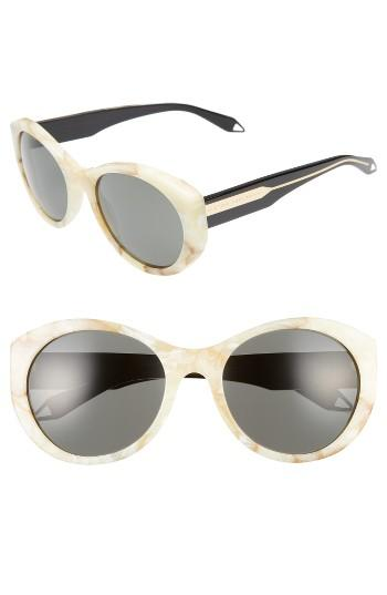 Women's Victoria Beckham Fine Oval 59mm Sunglasses - Vanilla Marble/ Grey