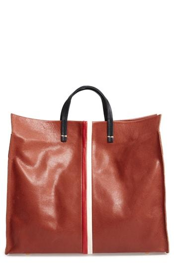 Clare V. Simple Stripe Leather Tote - Brown