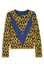 Women's Topshop Leopard Chevron Sweater Us (fits Like 0) - Yellow