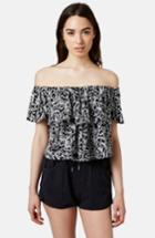 Women's Topshop Print Ruffle Off-shoulder Top