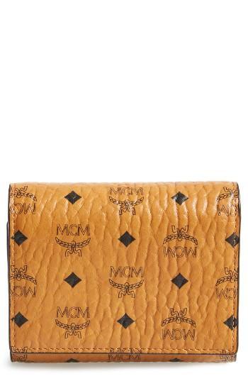 Women's Mcm Color Visetos Trifold Wallet - Brown
