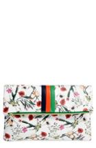 Clare V. Floral Leather Foldover Clutch - White
