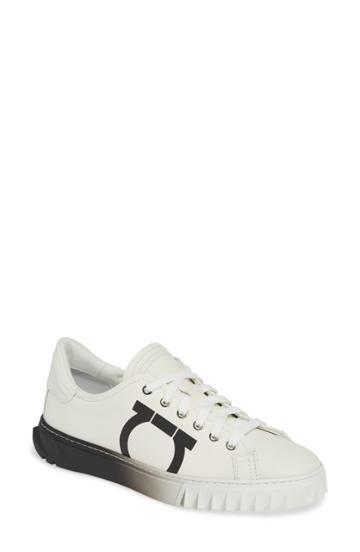 Women's Salvatore Ferragamo Cube Gancio Sneaker .5 C - White