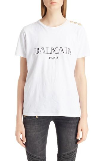 Women's Balmain Button Shoulder Logo Tee Us / 34 Fr - White