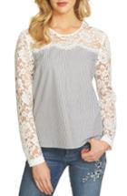 Women's Cece Pinstripe Lace Yoke Blouse - White