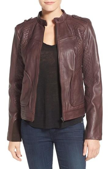 Women's Bernardo Quilted Leather Moto Jacket With Side Zips, Size Medium - Purple