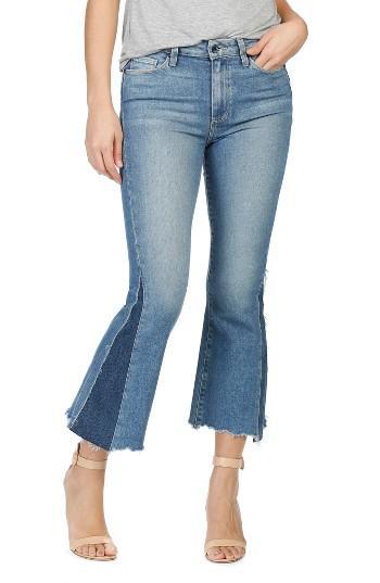 Women's Paige Legacy Colette Pieced High Rise Raw Hem Crop Flare Jeans - Blue