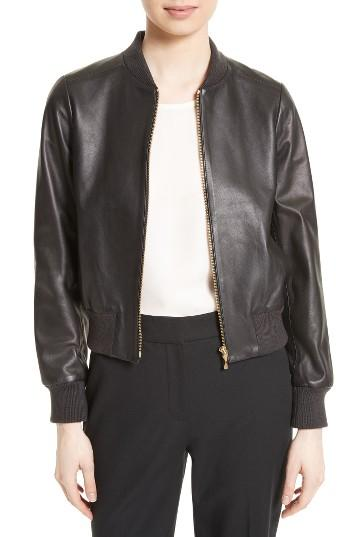 Women's Kate Spade New York Leather Bomber Jacket