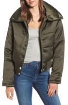 Women's Maralyn & Me Shiny Crop Puffer Jacket - Green