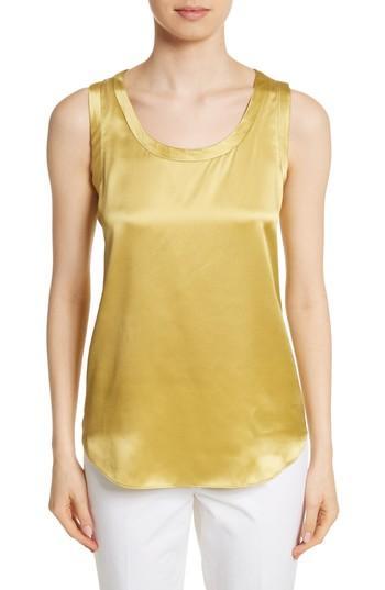 Women's Lafayette 148 New York Perla Reversible Silk Blouse - Yellow