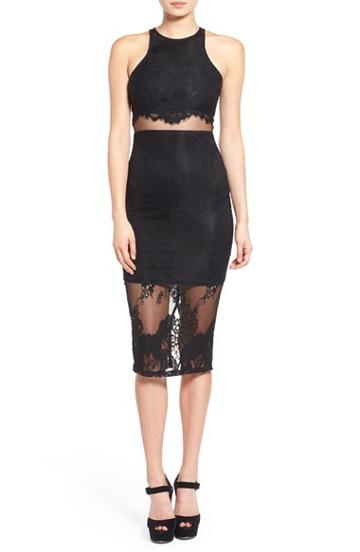Women's Missguided Lace Overlay Body-con Dress