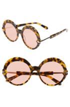 Women's Karen Walker Romancer 56mm Round Sunglasses - Crazy Tortoise