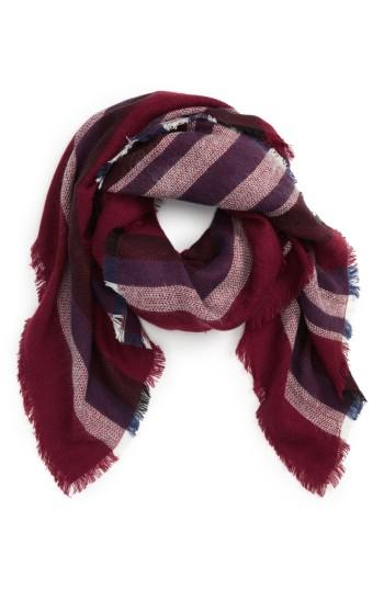 Women's Accessory Collective Stripe Scarf, Size - Red