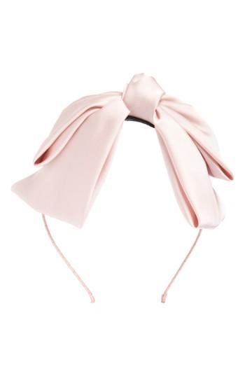 Cara Satin Bow Headband, Size - Pink
