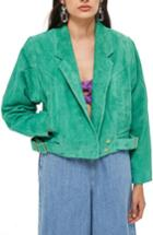 Women's Topshop Hawkes Suede Jacket Us (fits Like 0) - Green