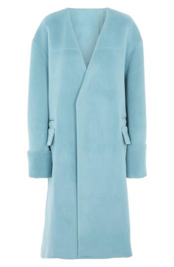 Women's Topshop Collarless Wool Blend Coat - Blue