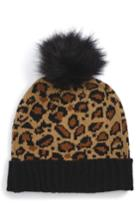 Women's Bp. Leopard Pompom Beanie - Brown