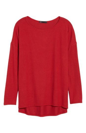Petite Women's Gibson Cozy Fleece Ballet Neck High/low Pullover, Size P - Red