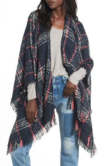 Women's Accessory Collective Plaid Ruana, Size - Blue