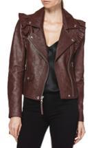 Women's Paige Annika Leather Moto Jacket - Burgundy