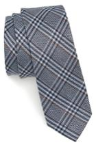 Men's The Tie Bar Columbus Plaid Linen & Silk Tie, Size - Blue