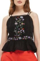 Women's Topshop Embroidered Peplum Top Us (fits Like 0) - Black