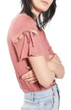 Women's Topshop Ribbon Sleeve Tee Us (fits Like 0) - Pink