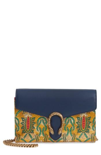 Women's Gucci Dionysus Brocade Wallet On A Chain -