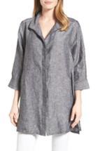 Women's Foxcroft Chambray Linen Tunic - Black