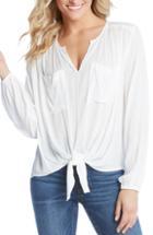 Women's Karen Kane Tie Front Top - White