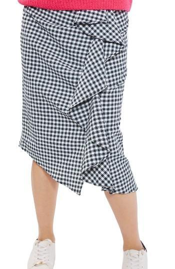 Women's Topshop Ruffle Gingham Midi Skirt