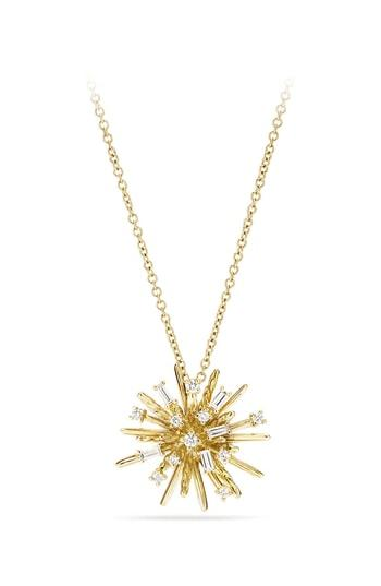 Women's David Yurman Supernova Small Pendant Necklace With Diamonds In 18k White Gold