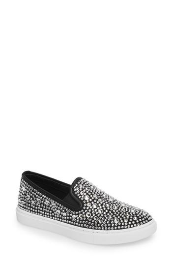 Women's Steve Madden Evada Crystal Embellished Slip-on Sneaker .5 M - Metallic