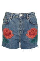 Women's Topshop Rose Embroidered Mom Shorts