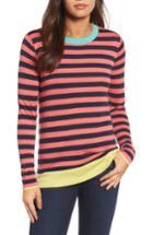 Women's Halogen Colorblock Stripe Sweater, Size - Coral