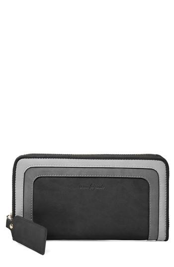 Women's Urban Originals Drama Queen Faux Leather Zip Wallet - Black