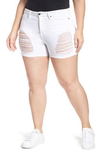 Women's Good American Destroyed Cutoff Denim Shorts - White