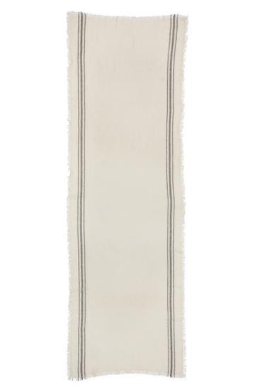 Women's Isabel Marant Vala Stripe Cashmere Scarf, Size - White