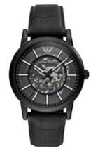 Men's Emporio Armani Automatic Leather Strap Watch, 43mm