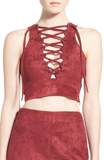 Women's Missguided Lace-up Faux Suede Crop Top